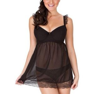 Affinitas Lingerie Sleepwear Babydoll Black 36D
